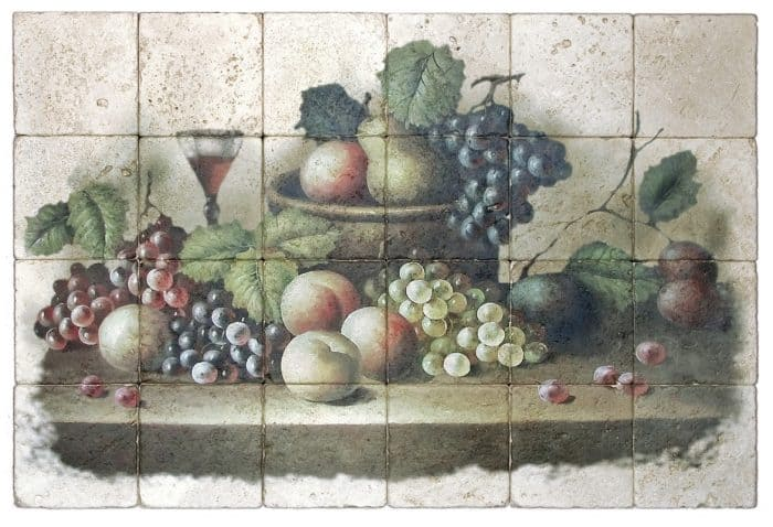 Wine and Grapes Mural product shot light travertine