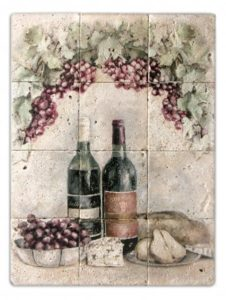Rustic wine mural with grapes