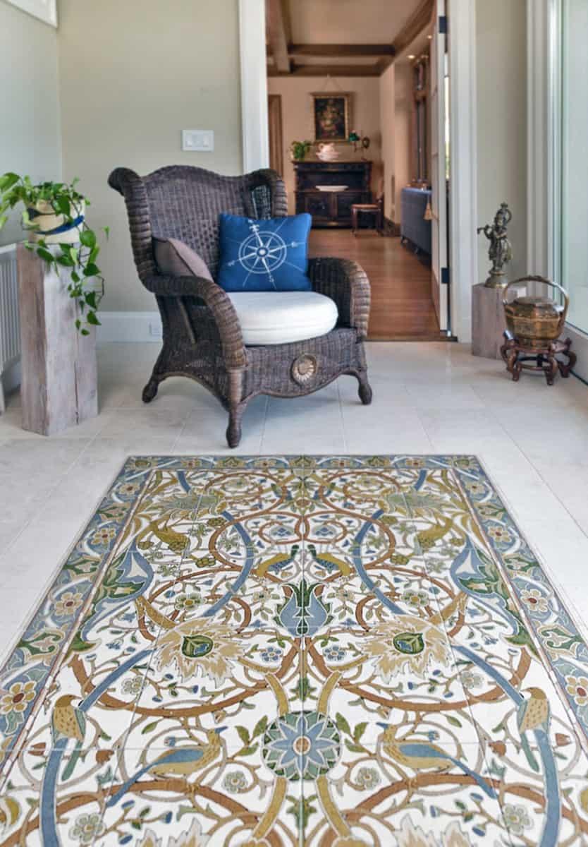 custom clermont mural as tile floor rug