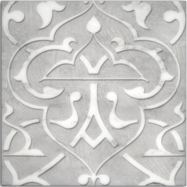 Charmed Collection in Night Pewter Pattern on Carrara white marble