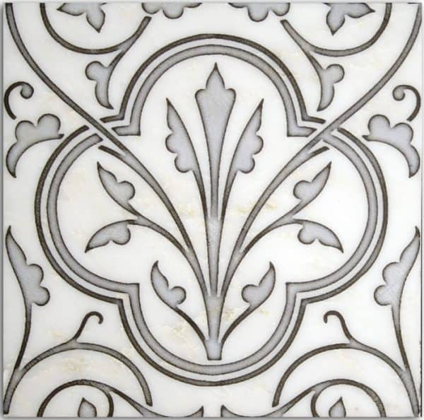 Devonshire Collection Single Tile in Midnight Pattern featuring classical and elegant design on Carrara White Marble