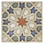 unique Star pattern tiles on travertine in stock ready to ship for backsplash 8x8 4x4 4x8 durango listellos decos