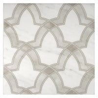evolve in oyster 12x12 on carrara white marble natural stone tile bathroom or floor