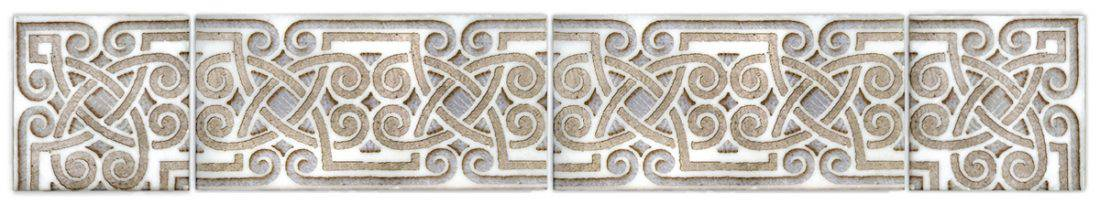 celtic patterned listellos and corners on natural stone straight-edged limestone botticino durango carrara marble thassos 3x6 6x12 4x8 2x4 natural stone pre-sealed bathroom stove top wainscoting
