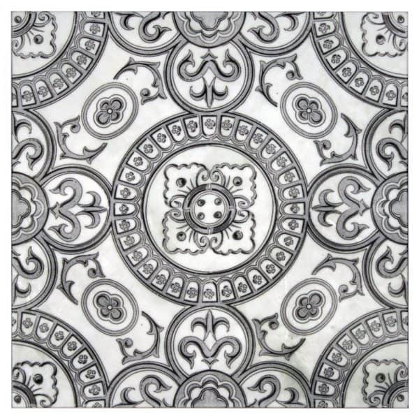 Heirloom Collection in Grey- Black Pattern on Carrara White Marble