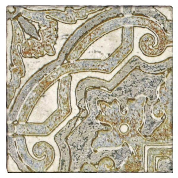 antiqued pattern kitchen tile on natural stone including limestone tumbled durango light travertine straight-edged carrara marble wall back splash backsplash stove top range accents decos vintage antique 6x6 12x12 4x4 quarter tiles make one full pattern