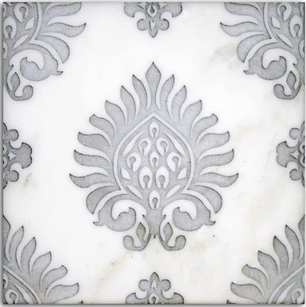 feminine designer tile luxury high-end unique hand-crafted decorative stone accents for bath shower wall tub surround waiscoting powder room wall ideas inspiration influenced