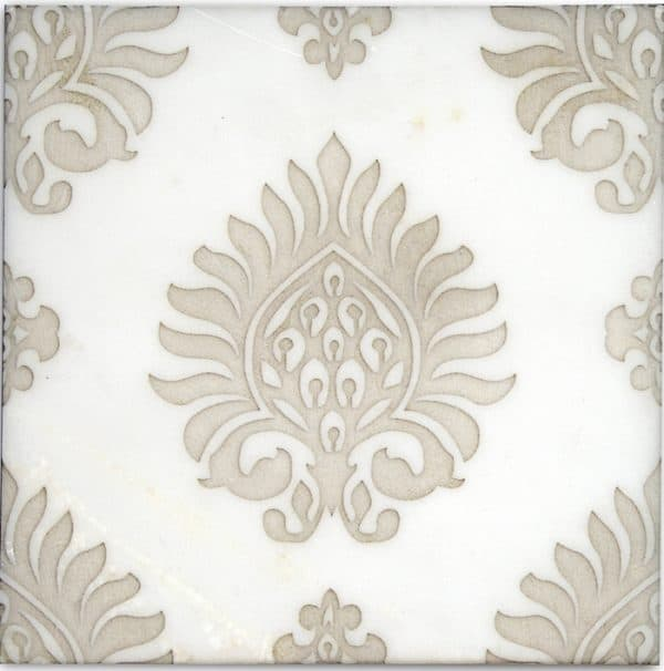 feminine designer stone tile on honed carrara marble art deco pattern