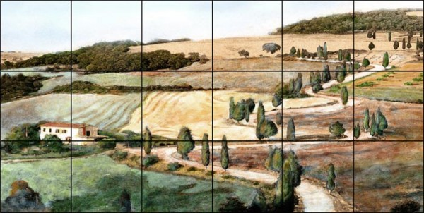 """Tuscan Landscape Tile Mural shown as 12"""" high x 24"""" wide"""