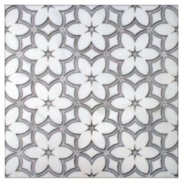 designs on carrara marble limestone thassos durango travertine custom flower patterned tile in grey on 6x6 12x12 18x18 2x2 3x3 accents decos unique black white gray blue modern contemporary for kitchen backsplash bath tub wall shower fireplace