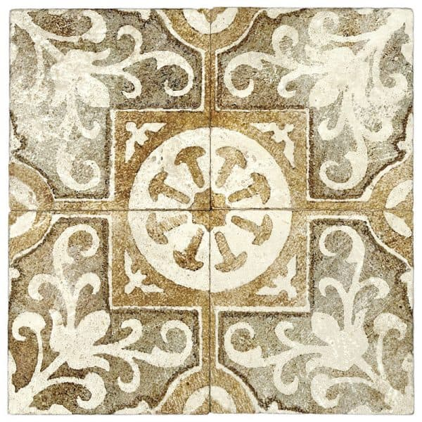 Four tiles in Amaretti Pattern Amber Tile on Light Travertine Natural Stone
