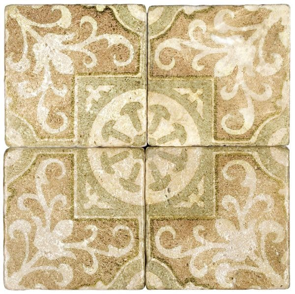 Four Amaretti tiles in Dawn pattern on Light Travertine Natural Stone