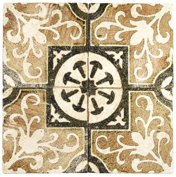 4 Amaretti tiles in Earth pattern featured on Light Travertine