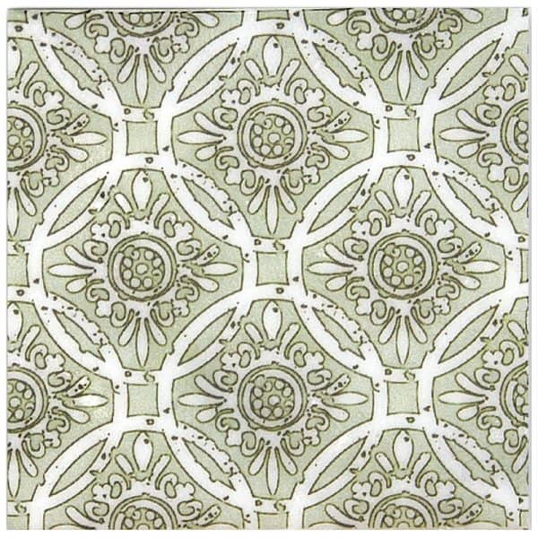 Aurora Collection in Celadon Pattern on Carrara marble stone