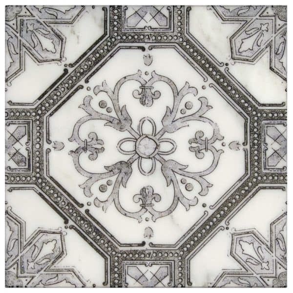 Cambridge Collection in Grey Black Pattern on Carrara marble