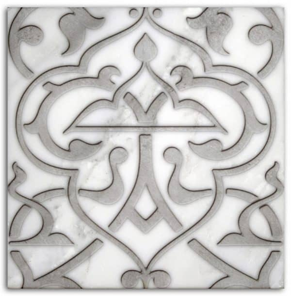 Charmed Day Pattern (Pewter) on Carrara