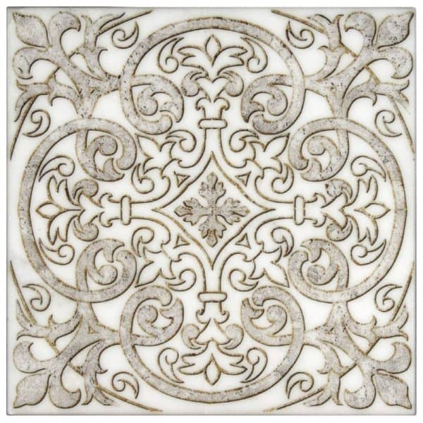 Chateau Collection in Pewter Pattern on Carrara marble tile