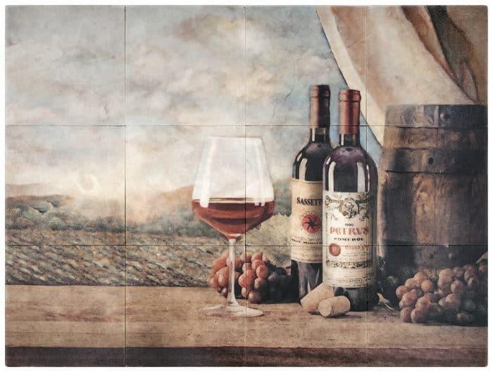 Vin Rouge Mural on Limestone