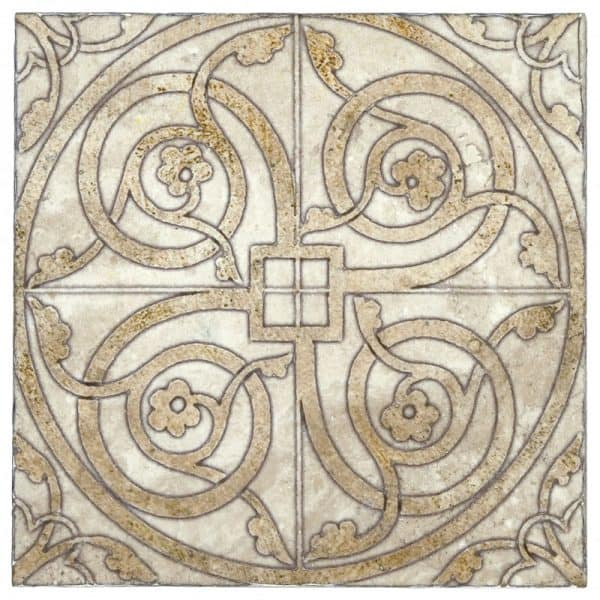 Single tile in Cortina collection featuring Oro Pattern on Tumbled Durango Marble