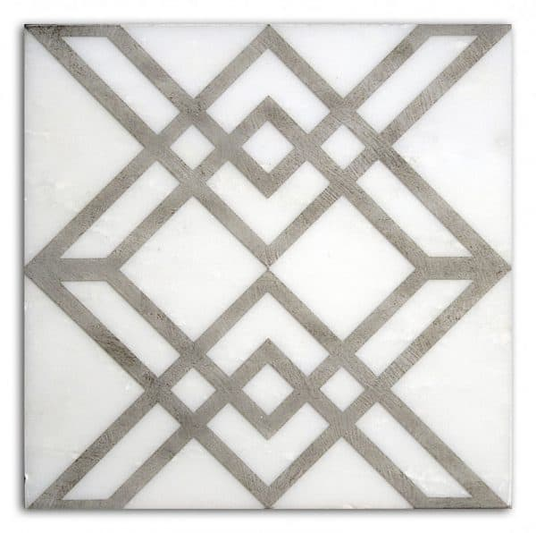 Elemental Collection Single Tile in Charcoal Pattern featuring grey tones on Carrara White Marble