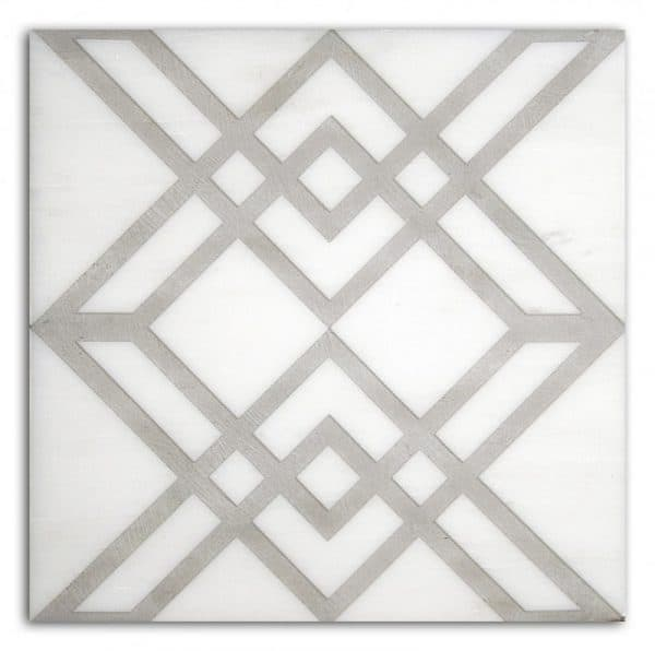 Elemental Collection Single Tile in Graphite Pattern featuring light grey tones on Carrara White Marble