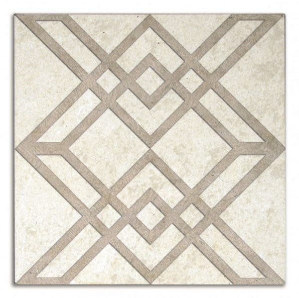 Geometrical tile designs patterned stone accents luxury decoratives geomtric kitchen backsplash back splash bath bathroom rub shower wall fireplace floor flooring carrara marble straight-edged limestone tmbled durano white beige