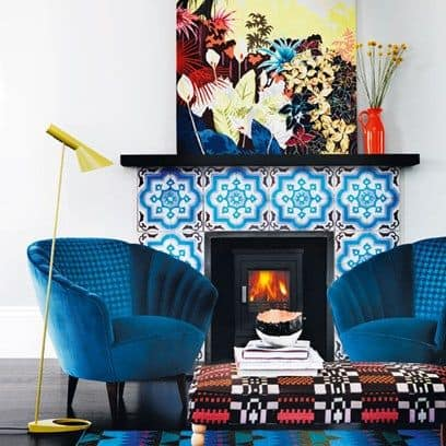 Bright pattern tile fireplace