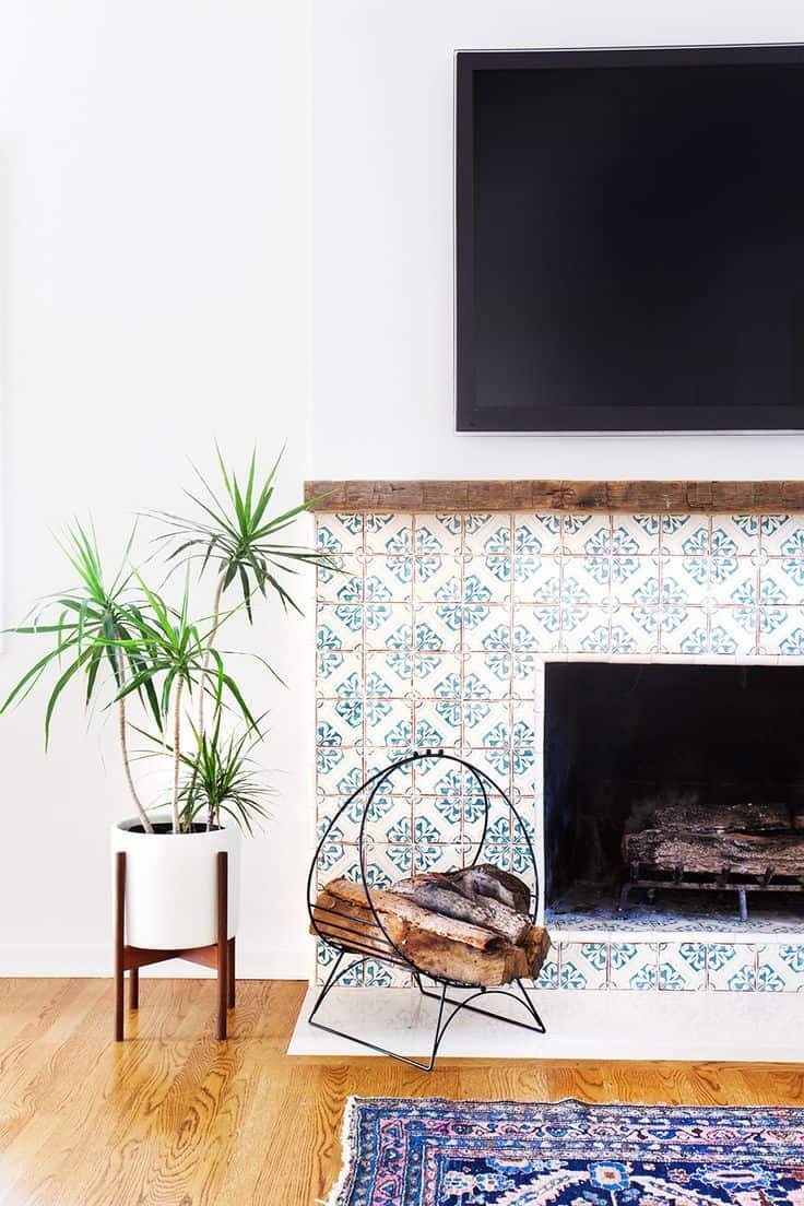 Cute pattern tile fireplace