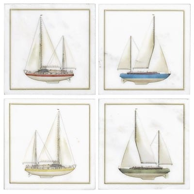 Sailboat accents on Carrara