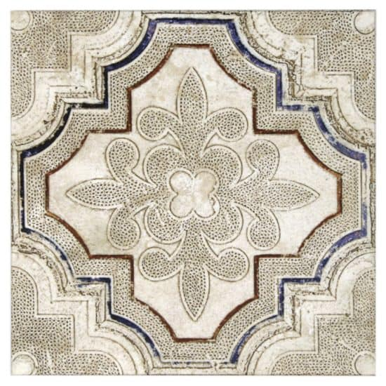 Altalena Pattern Berry tile on Honed Durango Natural Stone