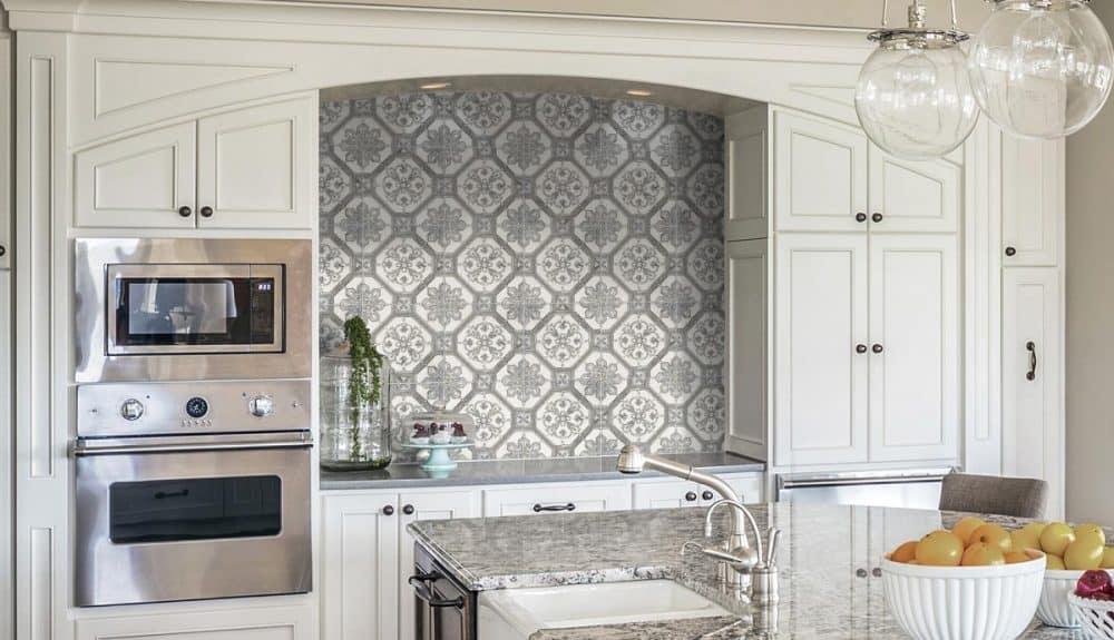 Kitchen Backsplash design in Cambridge Collection featuring Blue Pattern on Carrara marble
