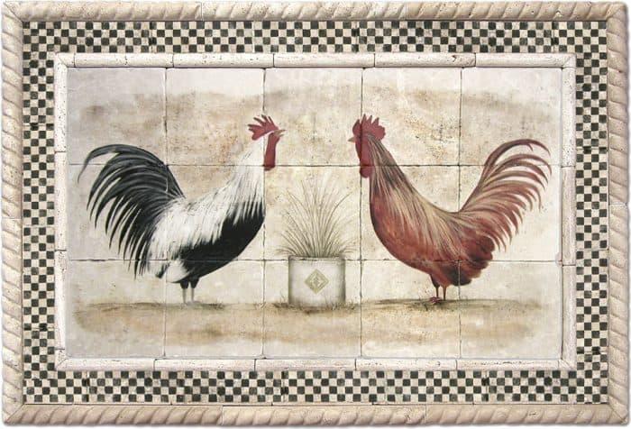 Cocoricos with Black Check border stone tile backsplash