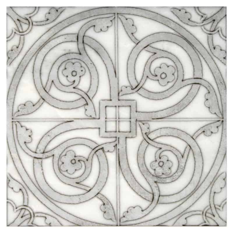 Individual Tile in Cortina Vine Pattern featured on carrara white marble
