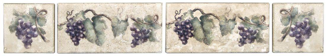 grapevine accent tile purple and red grapes listellos corners decos decoratives stone limestone durango travertine rustic wine winery vine vineyard back splash stove top cook range cellar vintner 3x6 6x12 2x4 2x6 4x8 3x3 4x4 6x6
