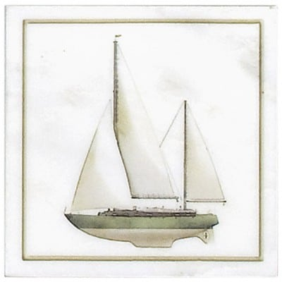 Green Sailboat Accent Carrara