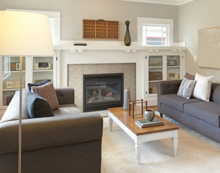 Interlude pattern fireplace installation