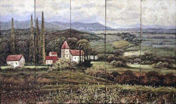 french vineyard landscape mural custom sized on genuine stone