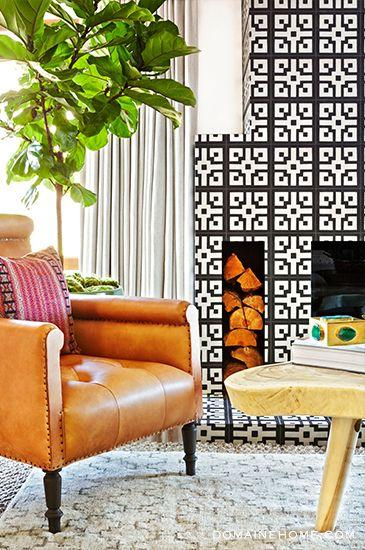 Bold pattern tile fireplace installation
