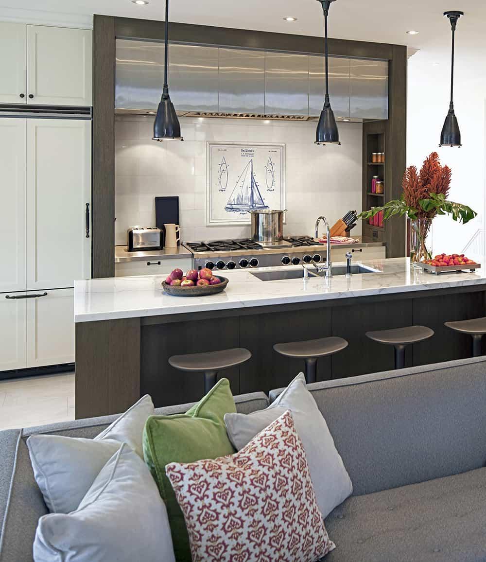 Blueprints Mural Kitchen Installation Modern Kitchen Living Room Open Floor Plan White Area