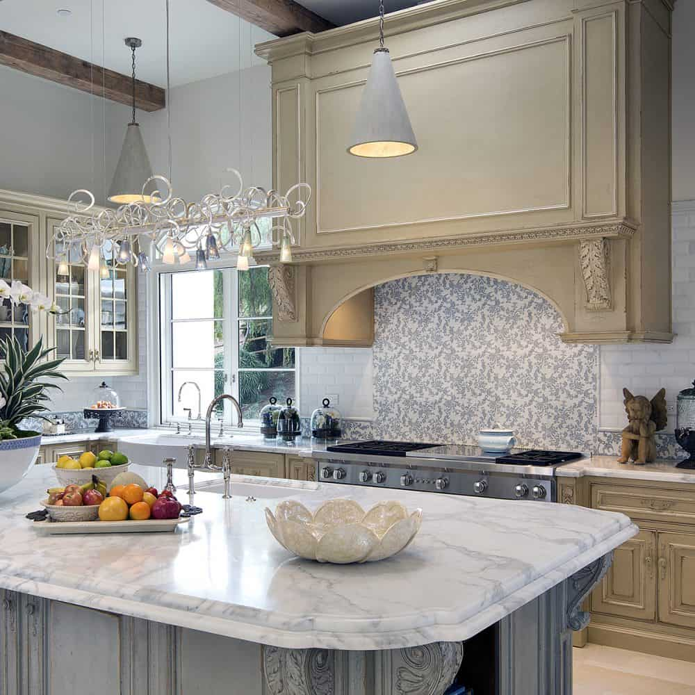 Decorative Kitchen Backsplash featuring Charleston Collection on Carrara white marble