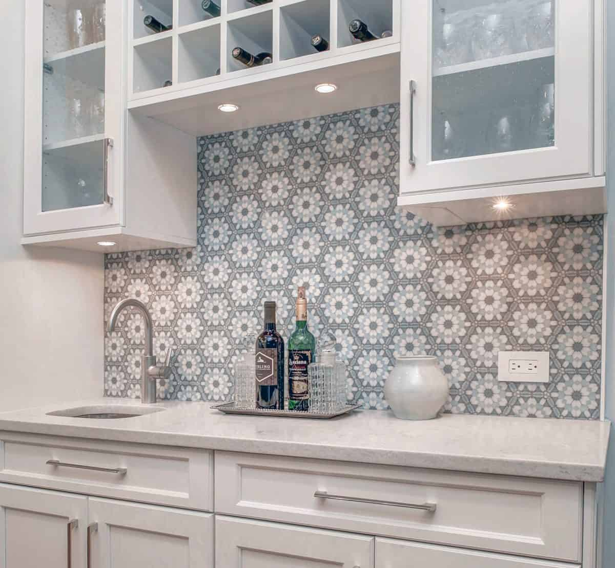 Alston Aliso Hexagon Tile on carrara