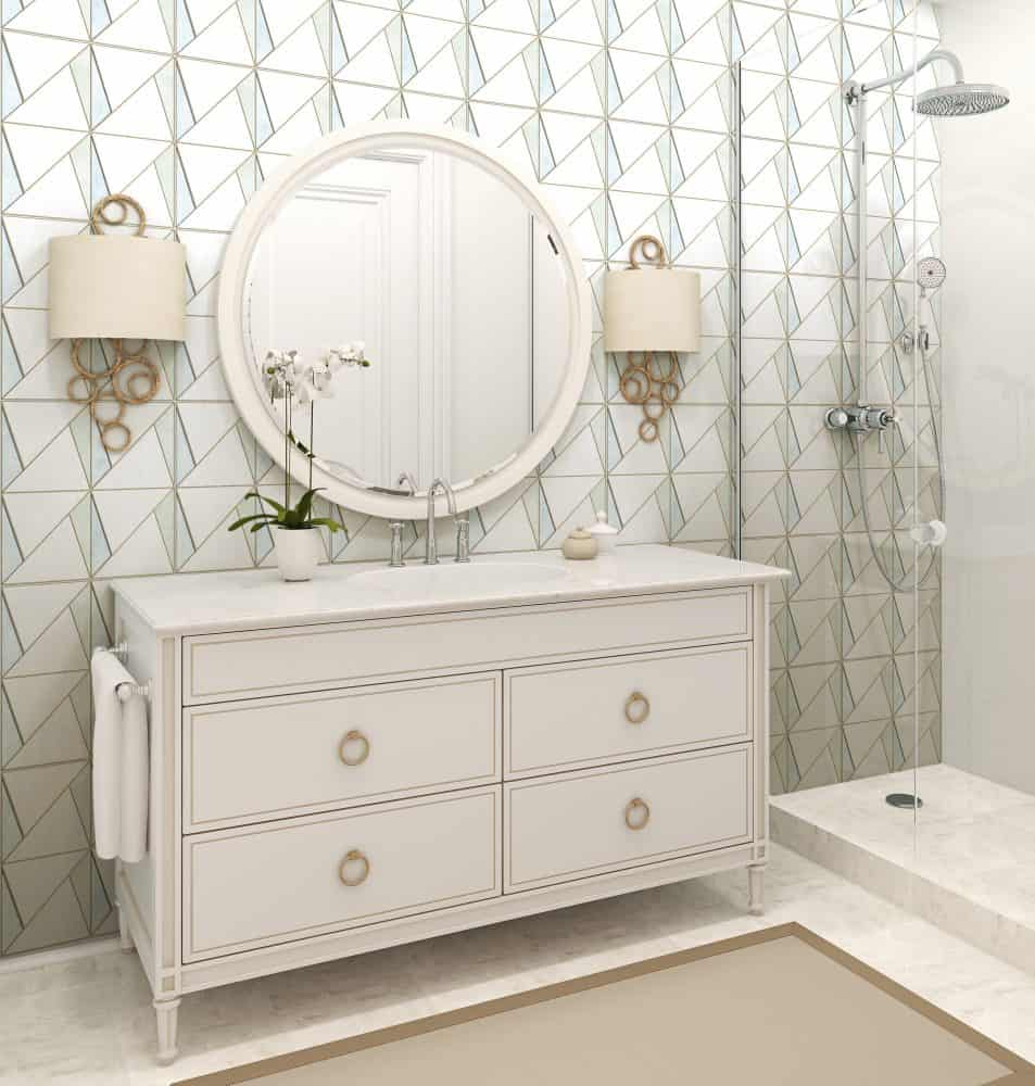 Decorative Bathroom Backsplash on Thassos Tile featuring Arden Pattern in Spring