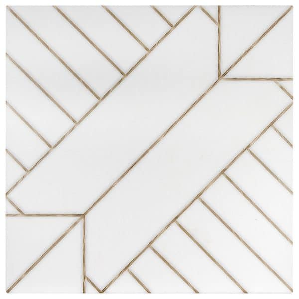 Aurum Single Pattern in Gold featured on white Thassos stone