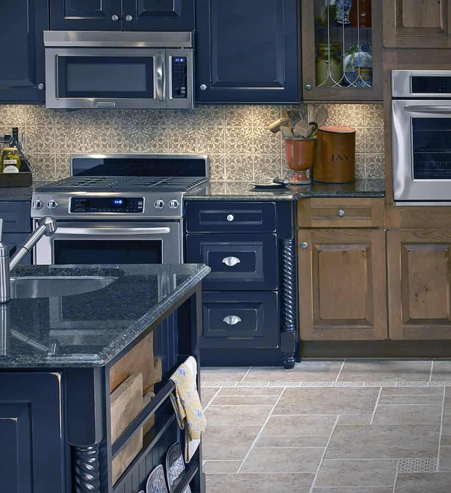 Timeless Stone Backsplash in Crewel Collection featuring Gold Pattern