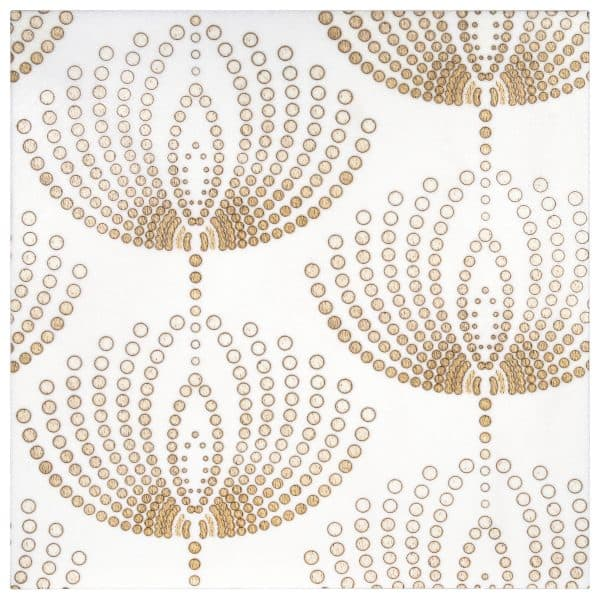 Dandelions Collection Single Tile in Gold Pattern featuring contemporary design on Thassos white marble
