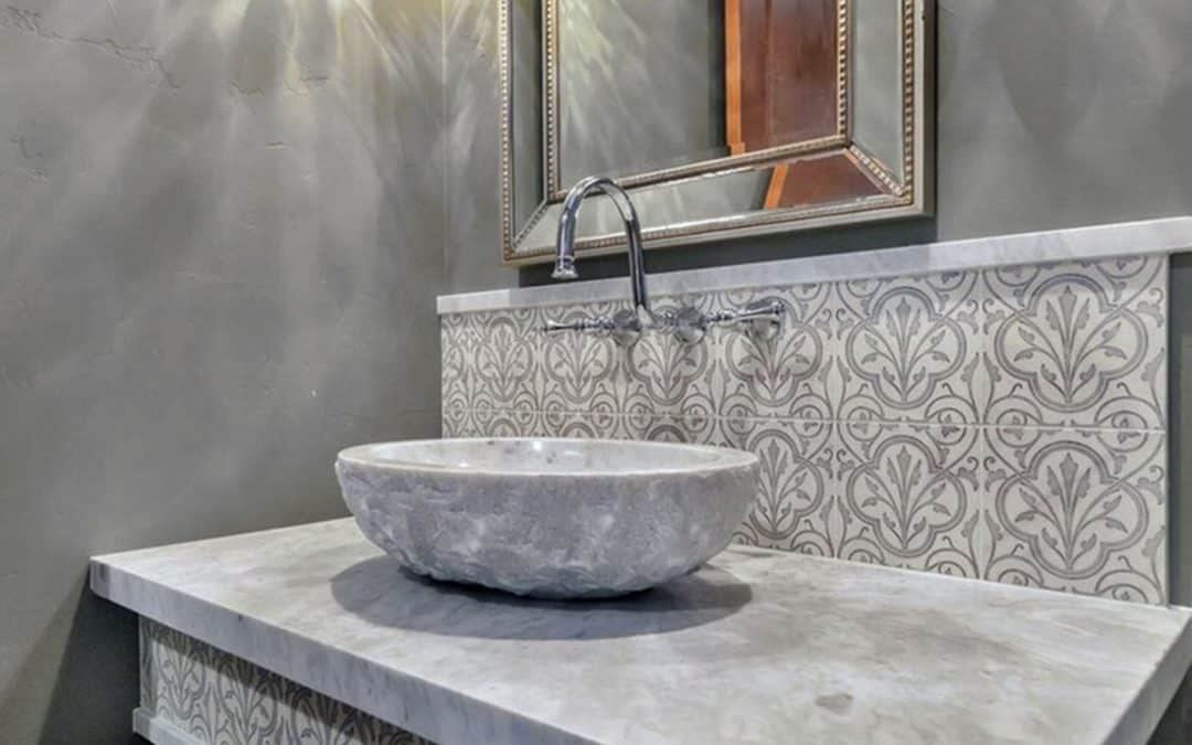 Timeless Decorative Bathroom Backsplash in Devonshire Collection featured on Carrara White Marble