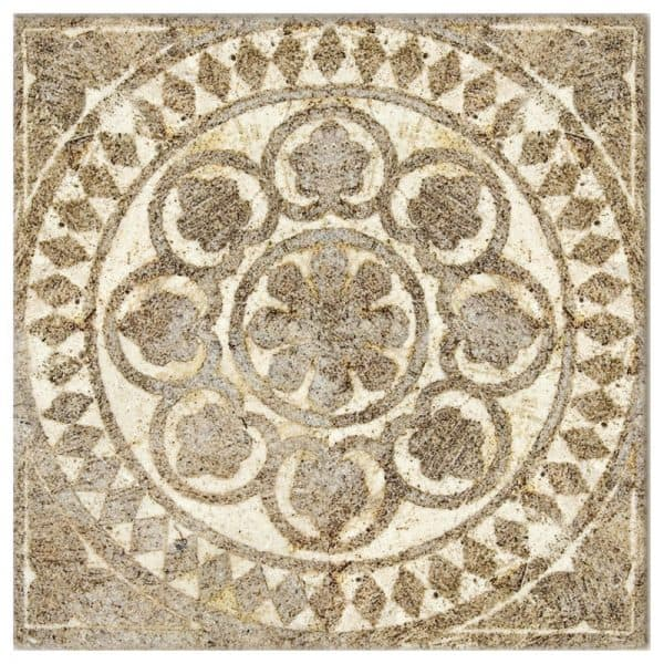 Single tile in Dulzura Pattern featuring spanish and rustic inspired designed on Tumbled Durango