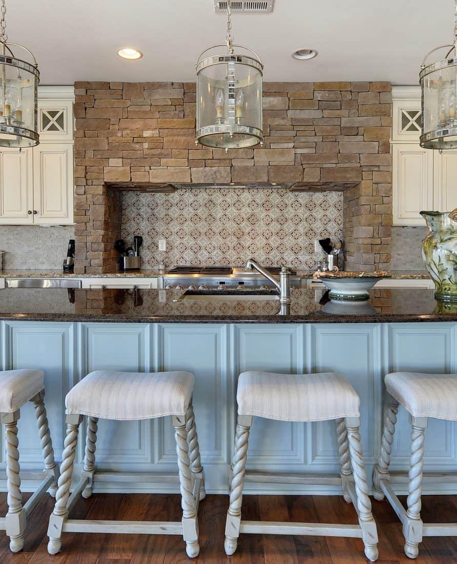 Kitchen Backsplash Altalena Siena Design on Light Travertine stone