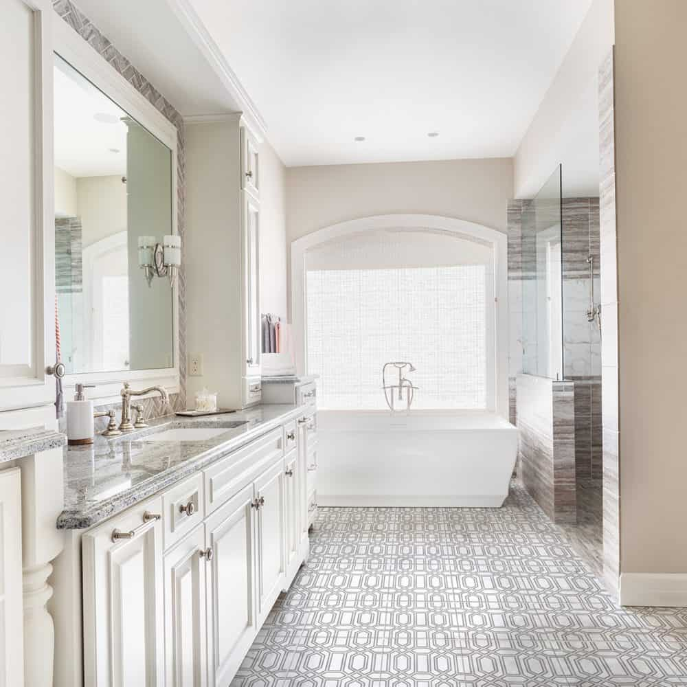 Alto Galaxy Grey Carrara Marble Bathroom Floor