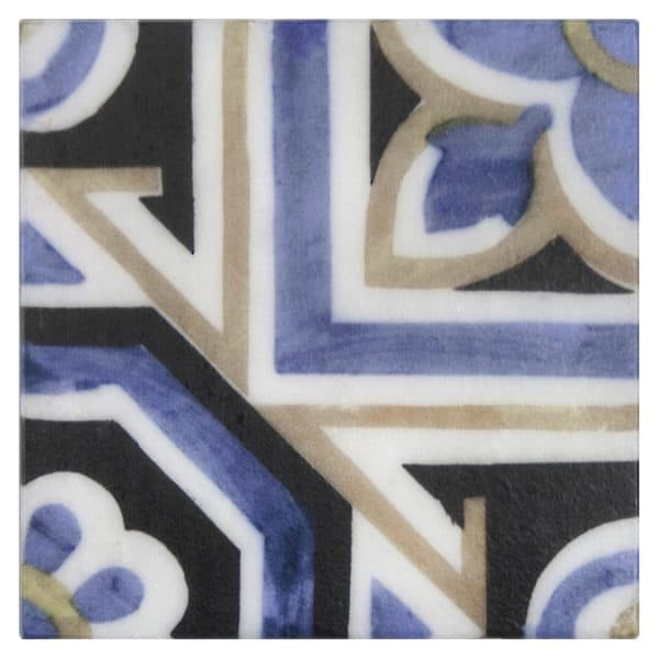 Bristol Deco Dots in pattern 40 on Carrara or Limestone individual art tile featuring blue and beige tones